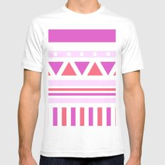 Aztec Patch; Pink. MEDIUM White Mens Fitted Tee