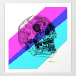 Skull pencil drawing with colour Art Print