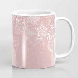 Elegant white lace floral and confetti design Coffee Mug