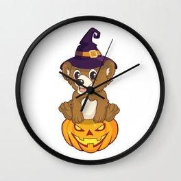 Cute Witch Bear With Jack O Lantern Halloween T-Shirt Wall Clock