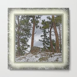 PINES ON ROCKY SNOW Metal Print