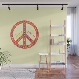 Peace and love, colourful and groovy hippie sign, 60's symbol of freedom Wall Mural
