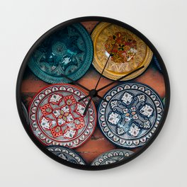 Arabic Moroccan Plates on Wall in Marrakech Wall Clock