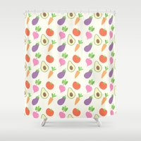 vegetable Shower Curtains featuring Mixed Vegetable by adorkible
