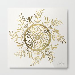 Leaf Mandala – Gold Palette Metal Print