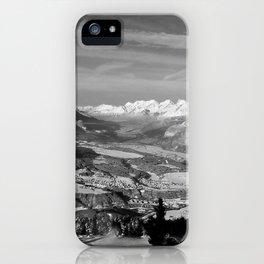 Innsbruck In Winter From Patscherkofel Mountain black white iPhone Case