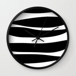Irregular Stripes Black White Waves Art Design Wall Clock