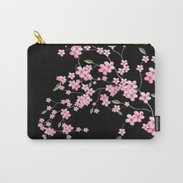 Cherry Blossom on Black Carry-All Pouch
