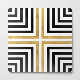 Simple Geometric Cross Pattern- White Gold on Black -Mix & Match with Simplicity of life Metal Print