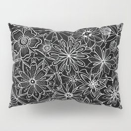 Floral Pattern Black and White Pillow Sham