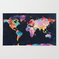 map of the world Area & Throw Rugs featuring World map by Bekim ART
