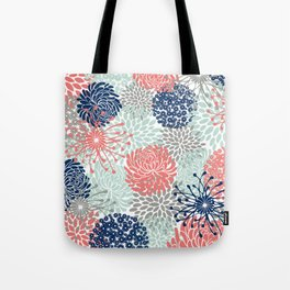 Floral Print - Coral Pink, Pale Aqua Blue, Gray, Navy Tote Bag