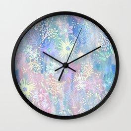 Eden Floral Pastel Blue Wall Clock