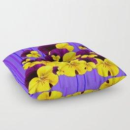 Patterned Purple Blue Stripes Yellow-Purple Pansies Art Floor Pillow