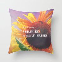 sunshine Throw Pillows featuring Sunshine by Olivia Joy StClaire