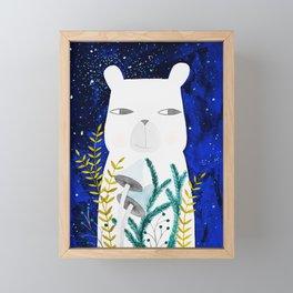 polar bear with botanical illustration in blue Framed Mini Art Print