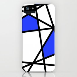 Geometric Modern triangles - white blue iPhone Case