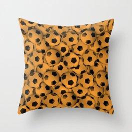 Field of Orange Soccer Balls Throw Pillow