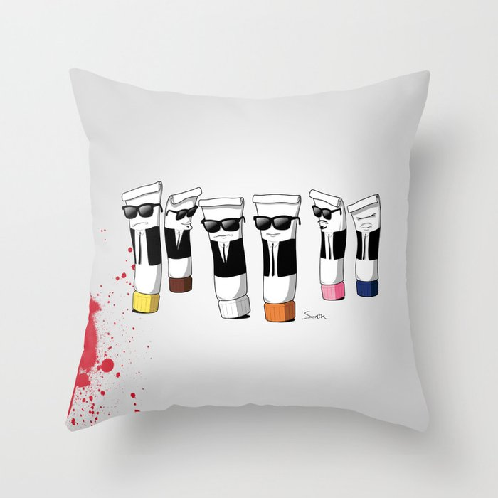 Reservoir Colours (with blood and light colored t-shirts) Throw Pillow
