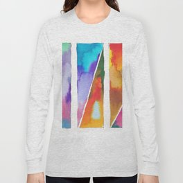 180811 Watercolor Block Swatches 3   Colorful Abstract  Geometrical Art Long Sleeve T-shirt