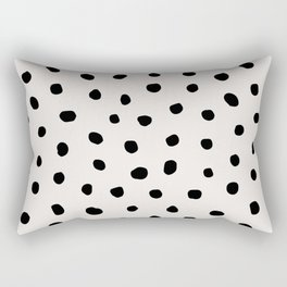 Modern Polka Dots Black on Light Gray Rectangular Pillow