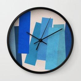 Blue Rectangles Wall Clock