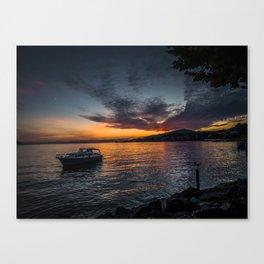 Montreux Lake Sunset Canvas Print