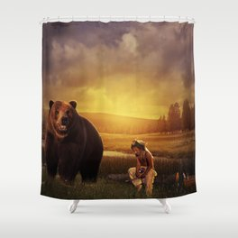 Native american boy and the bear Shower Curtain