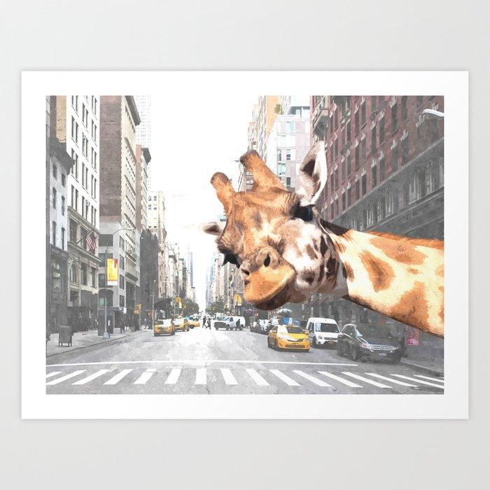 Selfie Giraffe in New York Kunstdrucke