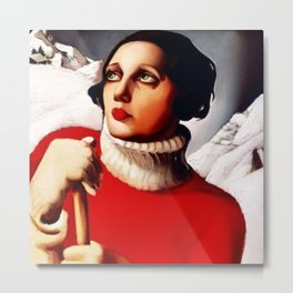 Saint Moritz Art Deco Glamorous self portrait painting by Tamara de Lempicka Metal Print
