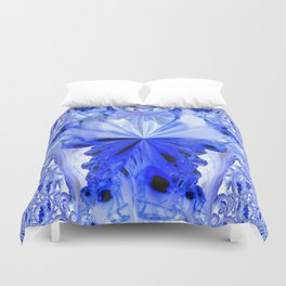 Crystal Blue Fractal Abstract Duvet Cover