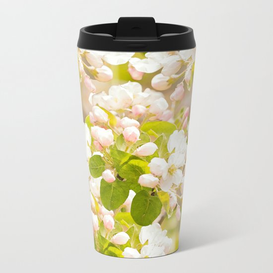 Apple tree branches with lovely flowers and buds on a pastel green background Metal Travel Mug