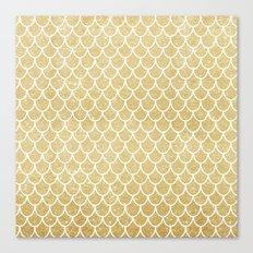 Mermaid Tail Pattern  |  Gold Glitter Canvas Print