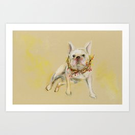 White dog with his wreath Art Print