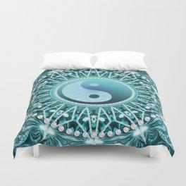 Tranquility Yin Yang Blue Aqua Mandala Duvet Cover