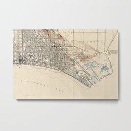 Vintage Map of Long Beach California (1923) Metal Print