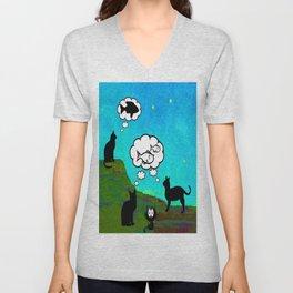 Cats Dreaming inTwilight Unisex V-Neck