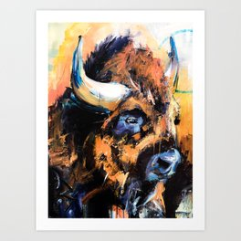 "Thunder Hoof "", abstract, bison, wildlife, yellowstone, nature lover. Art Print"