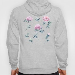 Delicate watercolor peonies seamless pattern on a pink background Hoody