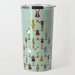 Christmas tree made of children Travel Mug