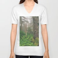 forrest V-neck T-shirts featuring Foggy Forrest by Donovan Bennett Designs