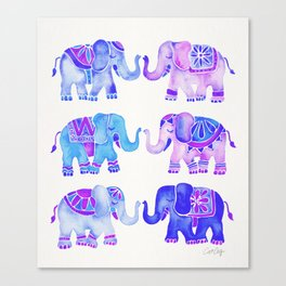 Elephant Collection – Indigo Palette Canvas Print