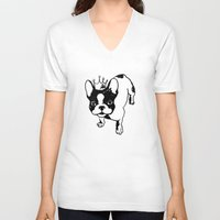 french bulldog V-neck T-shirts featuring French bulldog by Pendientera