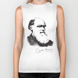 Charles Darwin Portrait Signature Evolution Atheist Science Atheist t-shirts Biker Tank