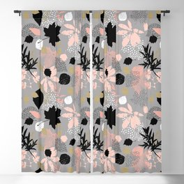 Abstract maple leaves autumn in pink and gray colors Blackout Curtain
