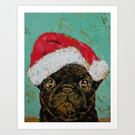 Santa Pug Art Print