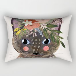 Siamese Cat with Flowers Rectangular Pillow