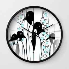Misted Penguins Wall Clock