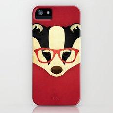 Hipster Badger: Red iPhone (5, 5s) Slim Case