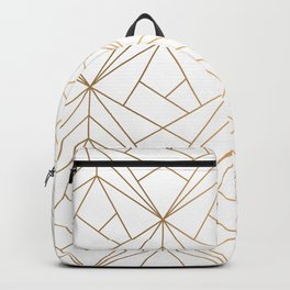 Geometric Gold Pattern With White Shimmer Backpack